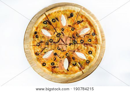 Pizza With Salmon On Wooden Background