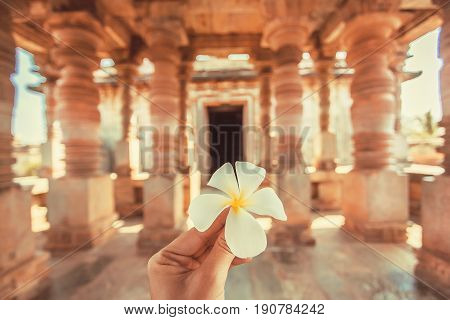 White flower in the hand of a tourist inside an ancient temple of India. Traditional architecture of Asia and vacation mood.
