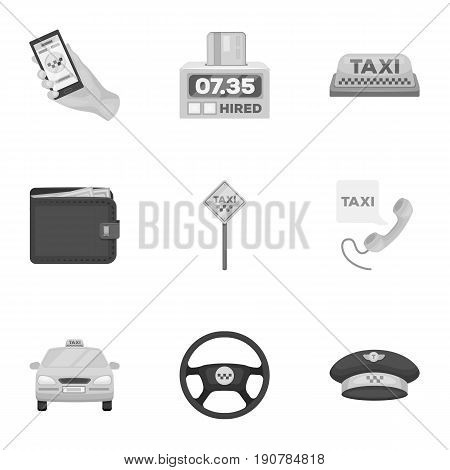 Set of icons about the taxi. A call taxi driver, Parking. Transportation around the city.Taxi icon in set collection on monochrome  vector symbol stock  illustration.