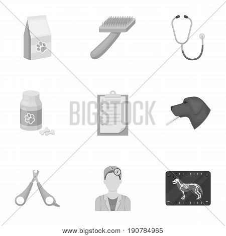 Vet clinic. Treatment of sick animals. Hospital for animals.Vet clinic icon in set collection on monochrome  vector symbol stock  illustration.