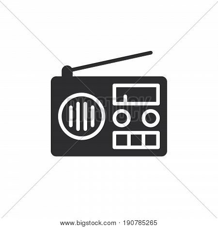 Radio icon vector filled flat sign solid pictogram isolated on white. Symbol logo illustration. Pixel perfect