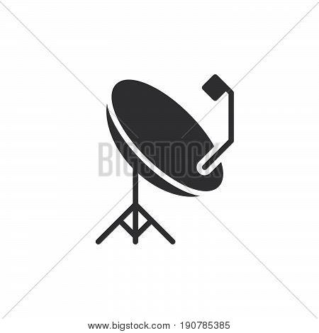 Parabolic satellite antenna icon vector filled flat sign solid pictogram isolated on white. Symbol logo illustration. Pixel perfect