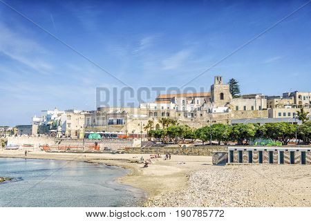 Otranto With Sandy Beach And Historic Sites, Apulia, Italy
