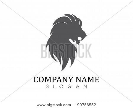 Lion solid logo on a white background