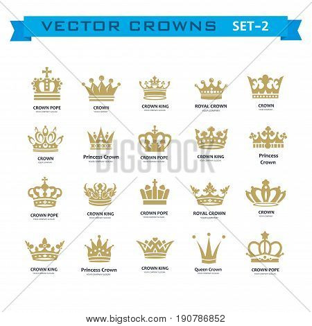 Vector collection of creative king queen princess pope crowns symbols or logo elements. Set of Geometric vintage crown