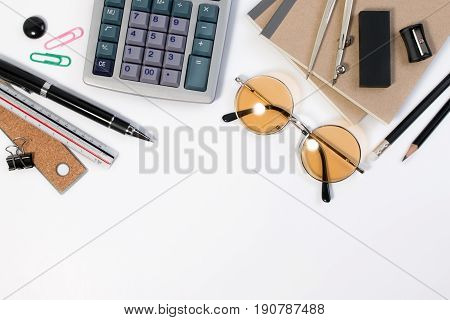 Modern White Math Office Desk Table With Pencil, Notebook, Calculator, Divider Scriber And Glasses O