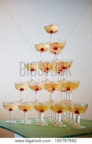 The party pyramid from a martini glasses.