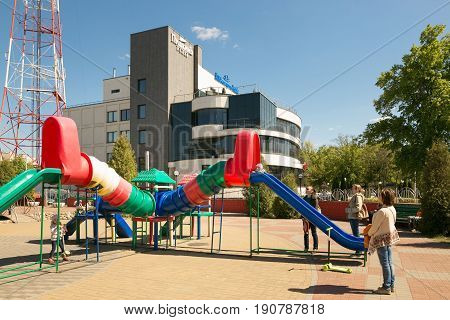Gomel, Belarus - May 14, 2017: The Building Of The Shopping Entertainment Center Pushkin Plaza In Th