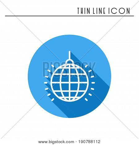 Disco ball icon. Disco, dance, nightlife club. Party celebration birthday holidays event carnival festive. Thin line party basic element icon. Vector simple linear design. Illustration. Symbols