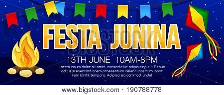 Festa junina banner with traditional paper bonfire flags and Sky lanterns. Vector banner. Latin American holiday. Brazil Festival