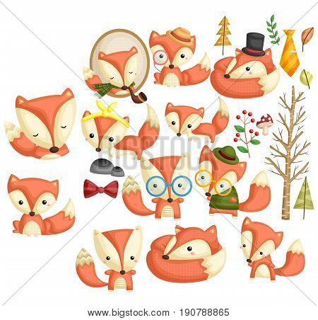 a stylish fox with many poses and items