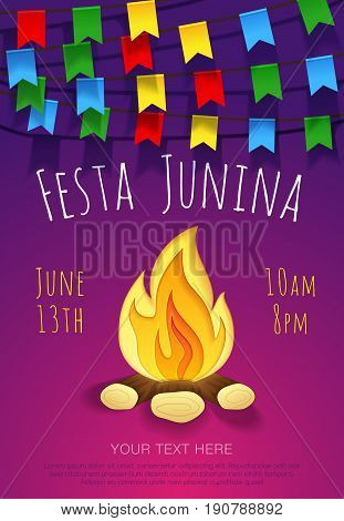 Festa junina poster with traditional paper bonfire and colorful flags. Vector banner. Latin American holiday. Brazil Festival