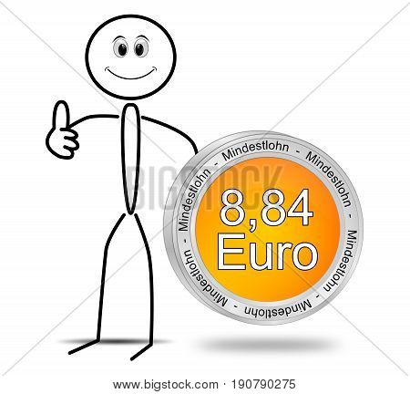 Stickman with 8,84 Euro minimum wage - in german - 3D illustration