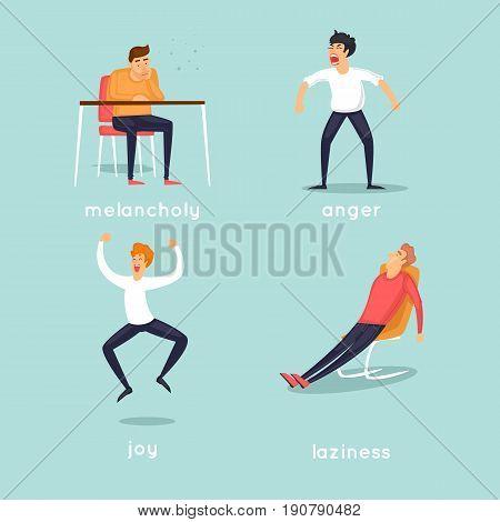 Wicked, lazy, joyful, sad. Characters. Flat design vector illustration.