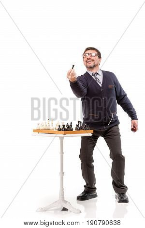 A Handsome Man In A Suit And Glasses, With A Pipe For Smoking And Chess; White Background