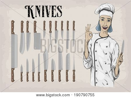 Kitchen tools utensils equipment ware set: knives chef's knife peeling; woman chief cooker worker happy smile portrait. Vector beautiful horizontal closeup illustration sign info graphics color linear