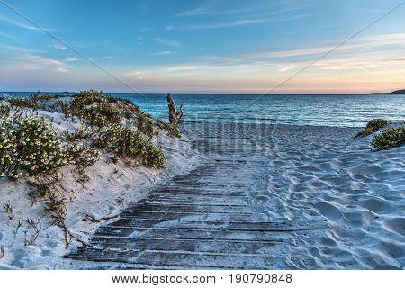 Boardwalk in Alghero at sunset. Sardinia Italy