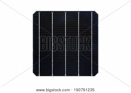 Monocrystalline solar cell isolated on white background.( With clipping path.)