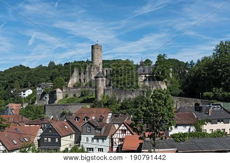 View of the castle ruin Eppstein in Hesse, Germany