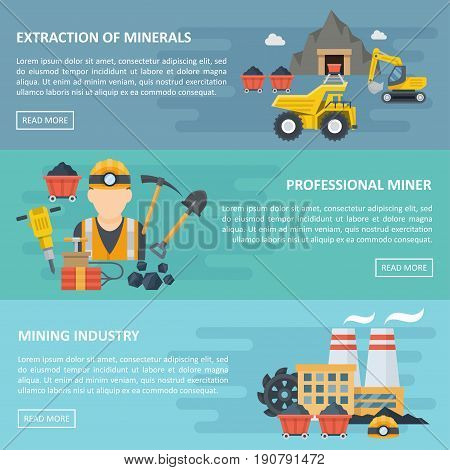 Minig industry banner, template poster with copyspace, professional extraction of minerals card, horizontal lines. Vector flat style cartoon illustration