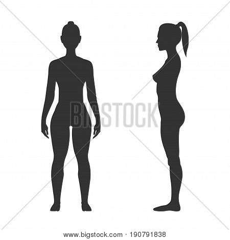 Woman black silhouette, front and side view. Adult human body, art model, fit and sporty figure. Vector flat style illustration isolated on white background