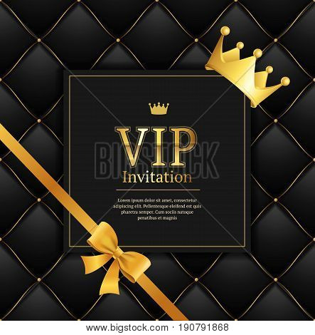 Quilted Invitation Card Pattern Background Vip Black with Gold Thread Luxury Expensive Concept Decorative. Vector illustration