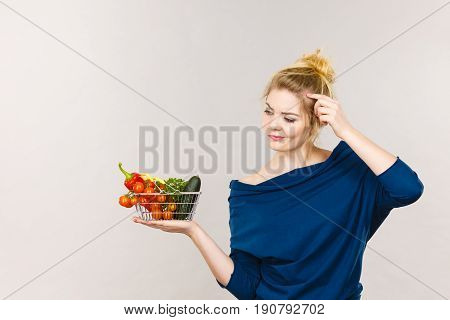 Woman With Vegetables, Thinking Face Expression
