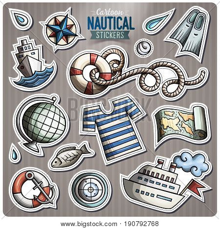 Set of Nautical cartoon stickers. Vector hand drawn objects and symbols collection. Label design elements. Cute patches, pins, badges series. Comic style.