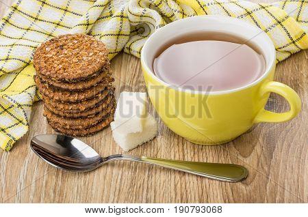 Cup Of Tea, Teaspoon, Lumpy Sugar, Stack Of Biscuits