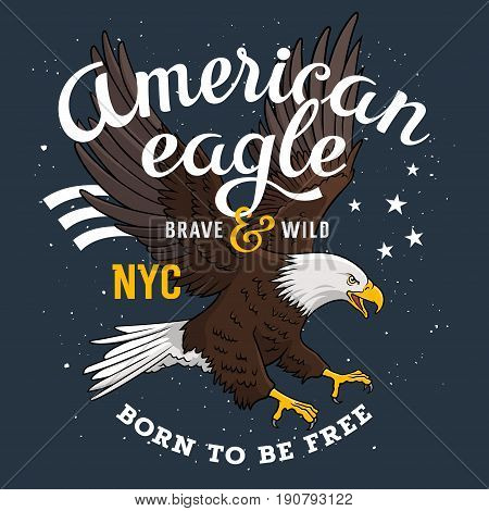 American Bald Eagle on a grunge background and inscription