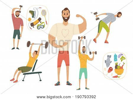 People workout with sports equipments, exercises with dumbbells healthy lifestyle and proper nutrition.