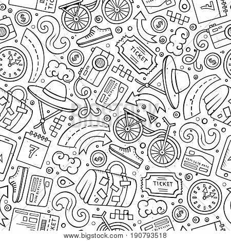 Cartoon cute hand drawn Traveling seamless pattern. Line art detailed, with lots of objects background. Endless funny vector illustration. Contour travel planning backdrop.