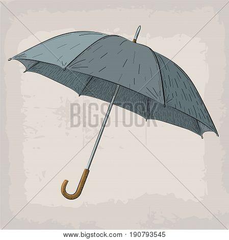 Umbrella or parasol vintage retro illustration in color on beige background