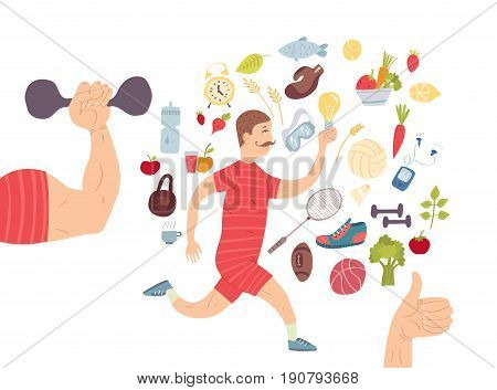 Running man. Jogger. Cardio training Sports equipments, healthy lifestyle and proper nutrition.