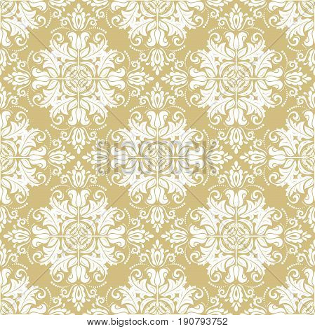 Seamless classic pattern. Traditional orient ornament. Classic vintage golden and white background