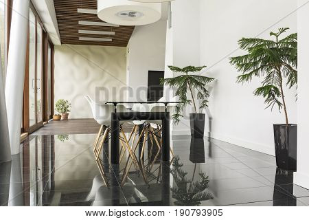 Black and white dining hall with plants in the corners