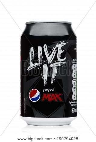 London, Uk - June 9, 2017: Aluminium Can Of Pepsi Cola Max Soft Drink On White.american Multinationa