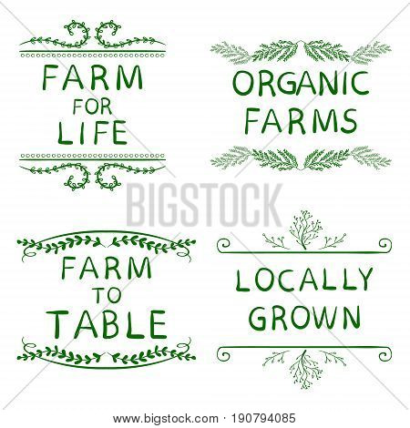 FARM FOR LIFE, ORGANIC FARMS, FARM TO TABLE, LOCALLY GROWN. Hand drawn typographic elements isolated on white. Green lines. Farming icons