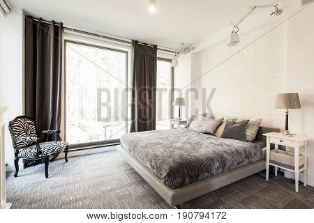 Avant-garde bright bedroom with king-size bed big window and armchair with zebra theme