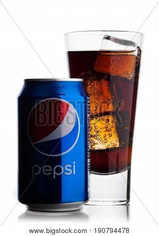 London, Uk - June 9, 2017: Aluminium Can And Glass With Ice Cubes Of Pepsi Cola Soft Drink On White.