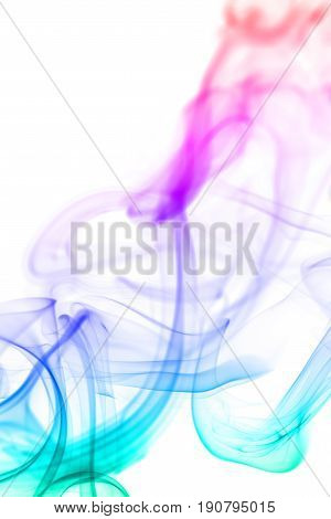 Colorful smoke isolated on white colorful background