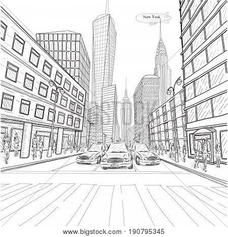 London New York building Empire State Chrysler Building city landscape taxi cars car street people silhouette vector closeup beautiful black line outline drawing illustration isolated white background