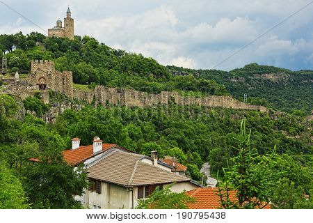 VELIKO TARNOVO, BULGARIA - MAY 28, 2017: Medieval eastern Europe fortress with an old orthodox church