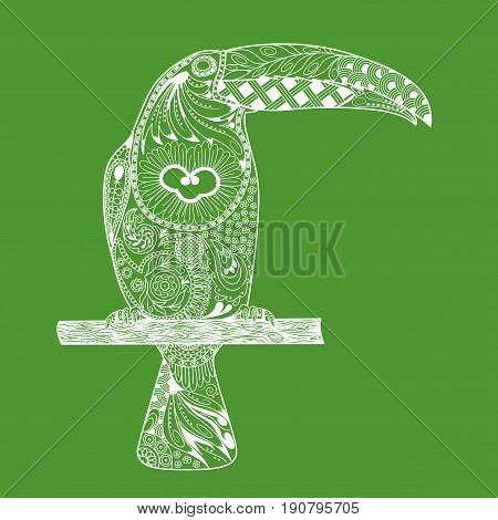 Zentangle stylized toucan. Hand Drawn doodle white bird toucan on green background