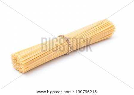 Raw spaghetti isolated on white background , long spaghetti