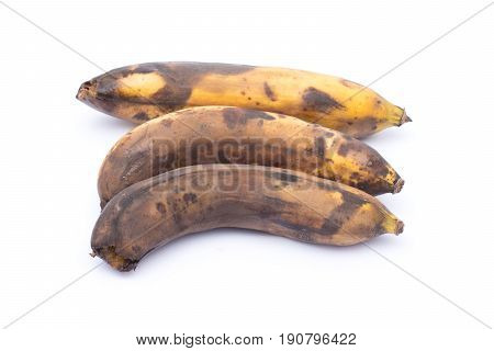 Three rotted banana isolated on white background