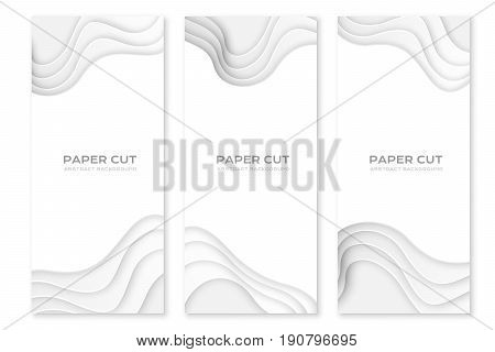 Paper cut design concept for flyers presentations and posters. Vector abstract carving art. White 3D layered banners.