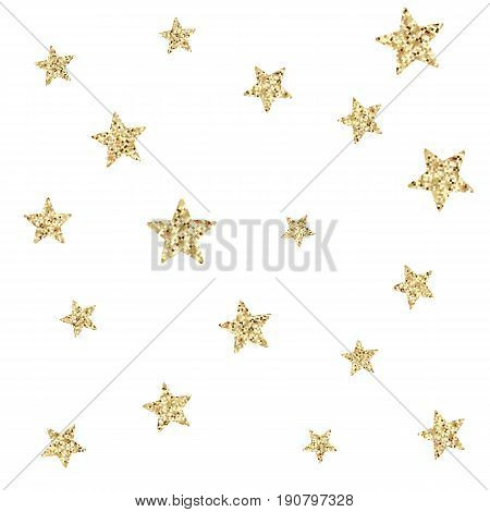 Seamless pattern with gold glitter textured stars on white background