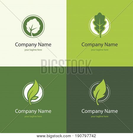 Four icons with leaves in a shape of circle. Natural floral eco bio or organic product logo concept. Green leaf abstract symbol.