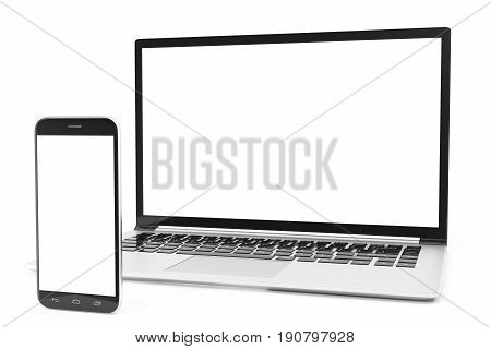 Desktop computer blank mock up. Glossy laptop computer mock up. Modern computer mock up. Perfectly detailed smartphone mock up near computer blank. 3D Rendering
